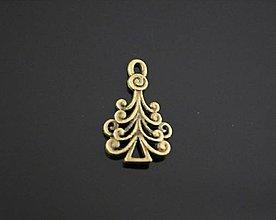 Komponenty - Prívesok vianočný STROMČEK 2,3 x 1,4 cm (Meď/Bronz) - 9934853_
