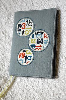 Papiernictvo - Číselné kruhy a denim - obal na zápisník A6 - 9936500_