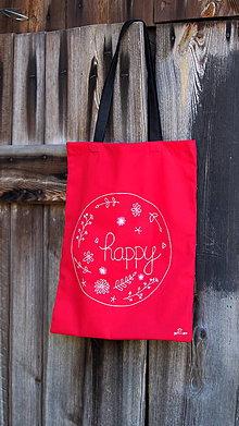 Nákupné tašky - Plátená taška ručne maľovaná- happy - 9935160_