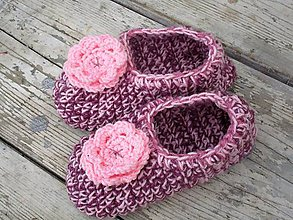 Topánočky - ružové papuče podšité filcom - 9935130_