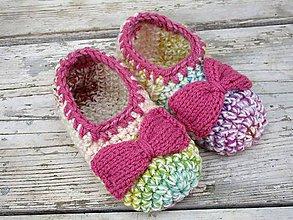 Topánočky - farebné papuče podšité filcom - 9935146_