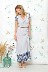 Šaty - Dlouhé šaty Anett Bohyně - modrý puntíček a krajka - 9935207_