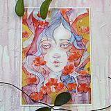 Obrazy - Maková víla Marína, akvarel výtlačok (print) + originál - 9936351_