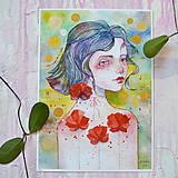 Obrazy - Maková víla Mia, akvarel výtlačok (print) + originál - 9936369_