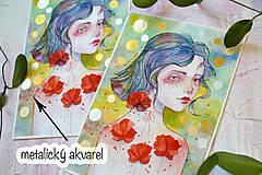 Obrazy - Maková víla Mia, akvarel výtlačok (print) + originál - 9936370_