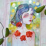 Obrazy - Maková víla Mia, akvarel výtlačok (print) + originál - 9936371_