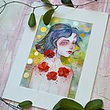 Obrazy - Maková víla Mia, akvarel výtlačok (print) + originál - 9936372_
