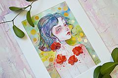 Obrazy - Maková víla Mia, akvarel výtlačok (print) + originál - 9936373_