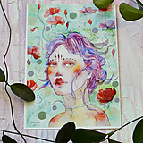 Obrazy - Maková víla Emily, akvarel výtlačok (print) + originál - 9936397_