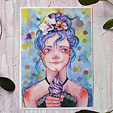 Obrazy - Dievčatko so zmrzlinou, akvarel výtlačok (print) - 9936872_