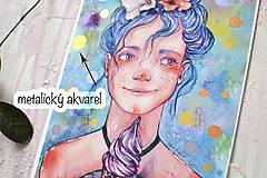 Obrazy - Dievčatko so zmrzlinou, akvarel výtlačok (print) - 9936881_