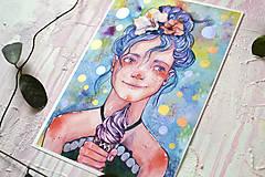 Obrazy - Dievčatko so zmrzlinou, akvarel výtlačok (print) - 9936883_