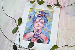 Obrazy - Dievčatko so zmrzlinou, akvarel výtlačok (print) - 9936908_