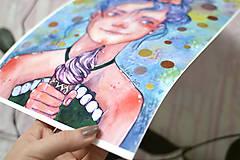 Obrazy - Dievčatko so zmrzlinou, akvarel výtlačok (print) - 9936909_