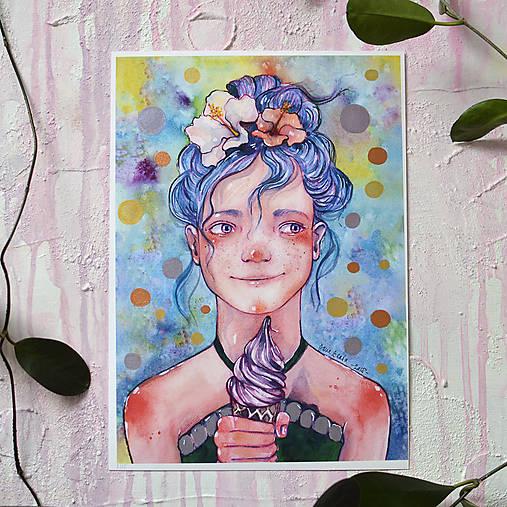 Dievčatko so zmrzlinou, akvarel výtlačok (print)