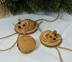 Dekorácie - Vianočné ozdoby myšky - 9936725_