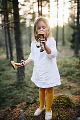 Detské ľanové šaty na gombičky