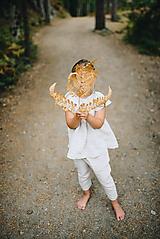 Dievčenský ľanový top s krídelkovými rukávmi
