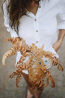 Košele - Dámska ľanová košeľa (Žltá) - 9940360_