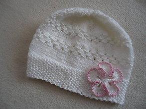 Detské čiapky - Biela čiapočka  Kajka 2 - 9939262_