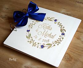 Papiernictvo - Svadobná kniha hostí, drevený fotoalbum - venček1 - 9938765_