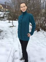 Svetre/Pulóvre - Návod na teplý petrolejový sveter, veľ 38 - 9938530_