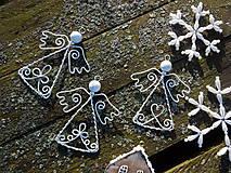Dekorácie - anjelikovia z truhlice starej mamy...vintage (Biela) - 9940650_