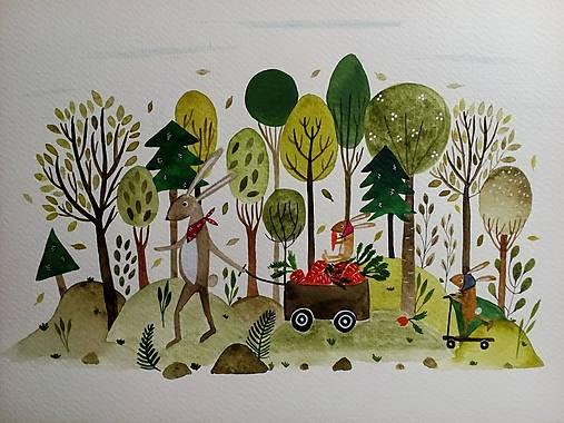 Zajačica v lese  ilustrácia / originál maľba