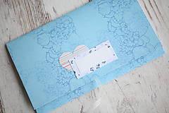 Papiernictvo - Scrapbook obálka na peniaze - tyrkysová - 9939670_