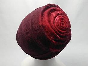 Čiapky - Dámska vlnená bordo-červená čiapka - 9940635_