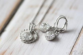 Sady šperkov - Strieborná súprava s kremeňmi- Krištáľová jemnosť - 9939562_