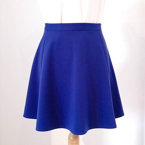 79cfaf3eb613 Polkruhová džersejová sukňa z troch dielov PARÍŽSKA MODRÁ ...