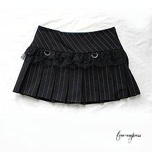 Sukne - Bedrová skladaná sukňa s prúžkami - 9939720_