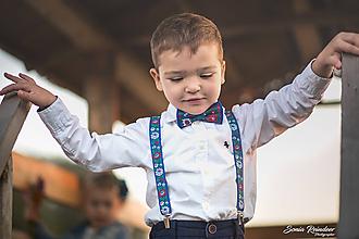 Detské doplnky - NOVINKA Detský folk set traky z gumy a extra vystužený motýlik - Modré - 9938577_