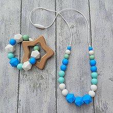 """Náhrdelníky - SET Silikónový náhrdelník + krúžok """"Blue in blue"""" - 9939098_"""