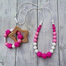 """Detské doplnky - SET Silikónový náhrdelník + krúžok """"Pinkie pink"""" - 9939147_"""