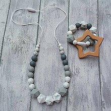 """Náhrdelníky - SET Silikónový náhrdelník + krúžok """"Grey shadows"""" - 9939156_"""