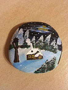 Dekorácie - Maľovaný kameň - Domček pri lese - 9941198_