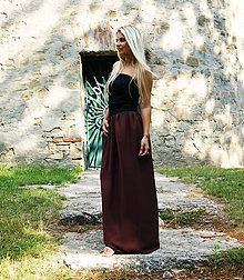 Sukne - MAXI šifónová sukňa hnedá - 9942060_