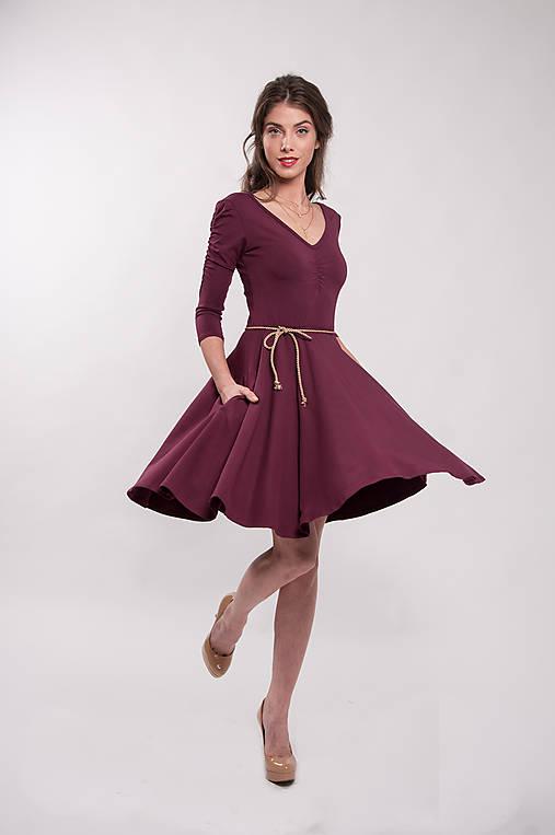 Šaty - Šaty bambusové bordové nariasený rukáv Merlot - 9940959_