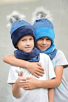 Detské súpravy - Zimný set Twist nositeľný na 2 spôsoby BLUE & TYRKIS - 9942195_