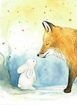 - Líška a zajac, ilustrácia, obrázok na stenu - 9941337_