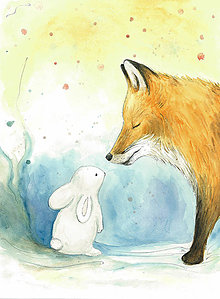 Obrázky - Líška a zajac, ilustrácia, obrázok na stenu - 9941337_