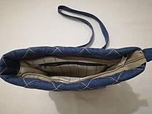 Kabelky - Riflová prešívaná crossbody taška - 9939845_