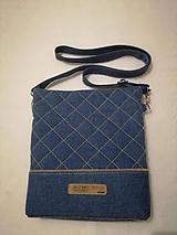 Kabelky - Riflová prešívaná crossbody taška - 9939847_