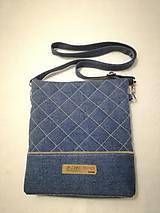 Kabelky - Riflová prešívaná crossbody taška - 9939848_