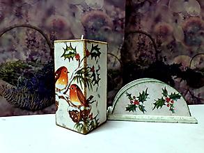 Svietidlá a sviečky - vianočná sada svietnik+ stojan na servítky - 9941558_