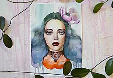 - Pani, akvarel výtlačok (print) (A3 (30 x 42 cm)) - 9940043_