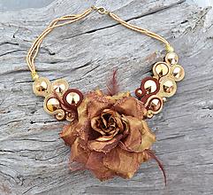Náhrdelníky - VÝPREDAJ! Soutache náhrdelník Gold Cinnamon - 9945012_