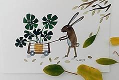 Obrazy - Zajačik a rastlinka ilustrácia pohľadnica  / originál maľba - 9945537_